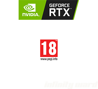 logo's, nvidia geforce rtx, pegi 18, activision, infinity ward